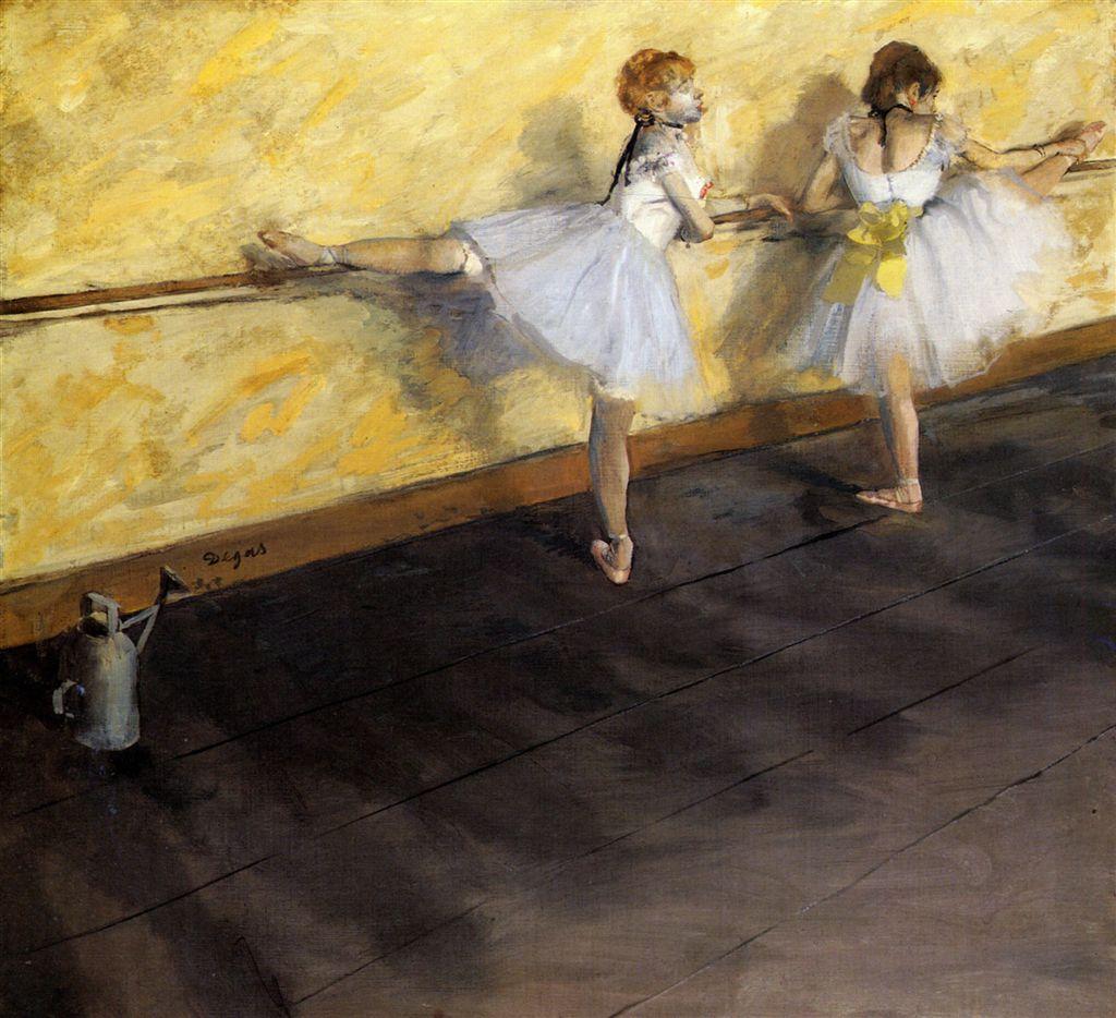 Reprodução em tela >> Bailarinas praticando Az na Barra do Artista Degas