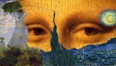 + DETALHES DA OBRA Da Vinci+Monet+Van Gogh (Olhar de Mona Lisa)
