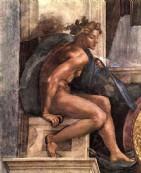 + DETALHES DA OBRA Jovem Homem-Detalhe Afresco Capela Cistina