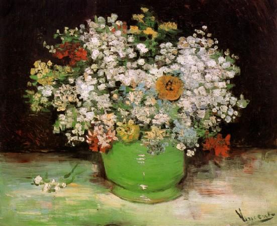 CLIQUE PARA AMPLIAR A OBRA Vaso com Zinnias e Outras Flores