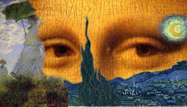 CLIQUE PARA AMPLIAR A OBRA Da Vinci+Monet+Van Gogh (Olhar de Mona Lisa)