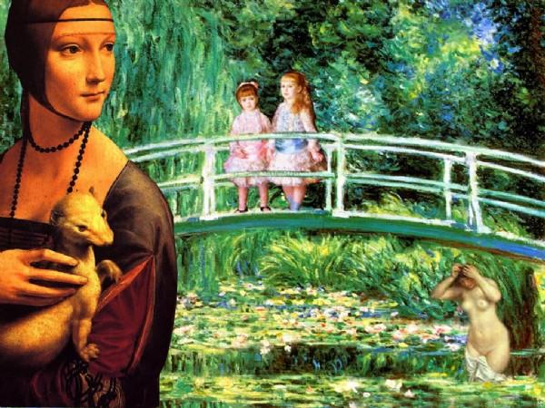 CLIQUE PARA AMPLIAR A OBRA Da Vinci+Monet+Renoir (As meninas sobre a Ponte)