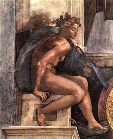 CLIQUE PARA AMPLIAR A OBRA Jovem Homem-Detalhe Afresco Capela Cistina