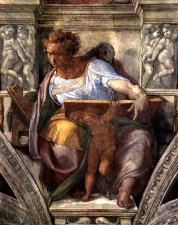 CLIQUE PARA AMPLIAR A OBRA Profeta Daniel- Detalhe de afresco da Capela Cistina